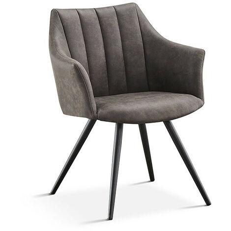 Chaise avec accoudoirs Ramona PU gris foncé - Gris