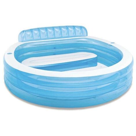 Piscine familiale avec banquette intégrée Intex - Bleu