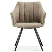 Chaise avec accoudoirs Ramona PU gris clair - Gris clair
