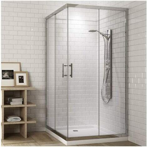 Mampara de ducha cuadrada con cierre en ángulo 2 Laterales fijos y 2 puertas correderas perfíl cromo 70X70 TRANSPARENTE