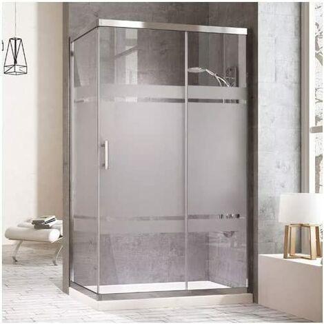 Mampara de ducha rectangular con un lateral fijo y un frontal con puerta corredera y lateral fijo. reversible Cristal Serigrafiado Perfíl cromo 70X100CM