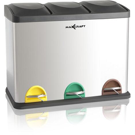 MAXCRAFT Mülleimer / Treteimer mit 3 Behältern - 45 Liter (3 x 15 Liter)