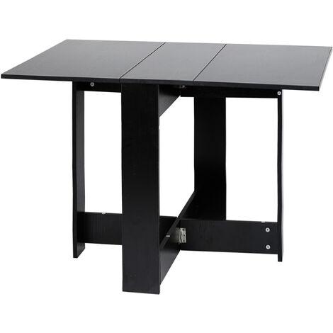 Mesa plegable negra de estilo contemporáneo para 4-6 personas para cocina, comedor, sala de estar