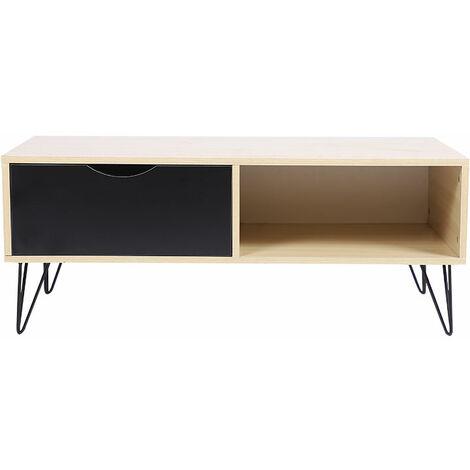 Mesa de centro con patas de hierro, un cajón y un estante 100 * 45 * 40cm, madera y color negro.