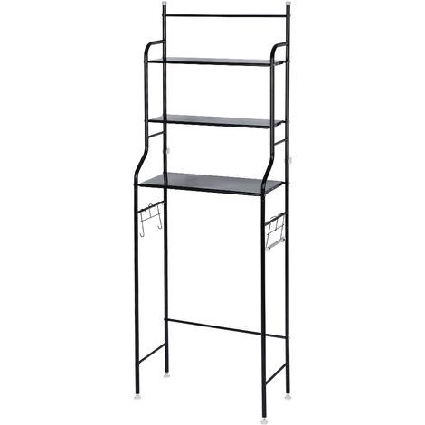 Mueble de baño / columna de inodoro / mueble con estante de baño de 3 filas - Negro