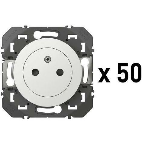 Lot de 50 prises de courant 2P+T Surface Dooxie 16A - Blanc - 600635 - Legrand