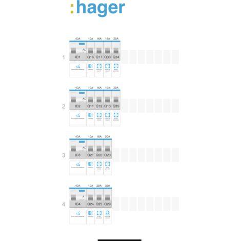 HAGER Gamma Tableau électrique prééquipé 4 rangées 4ID 40A 14 disjoncteurs