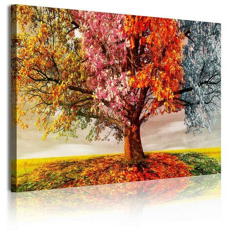DekoArte 337 - Cuadros Modernos Impresión de Imagen Artística Digitalizada   Lienzo Decorativo Para Tu Salón o Dormitorio   Estilo Paisaje Árboles Cuatro Estaciones Del Año   1 Piezas 120 x 80 cm