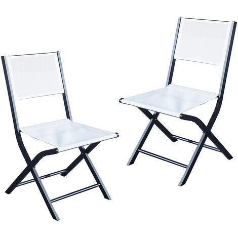 Lot 2 chaises jardin pliantes alumunium et textilène noir et blanc
