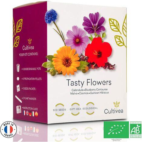 Cultivea Mini - Kit Prêt à Pousser Tasty Flowers - Graines 100% BIO et françaises - (5 Fleurs comestibles)