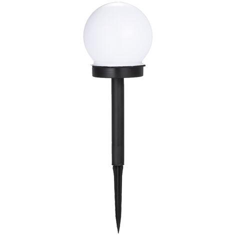 Bombilla LED solar con forma redonda, cesped al aire libre jardin del patio de luz, blanco frio,Paquete de 1