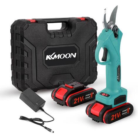 Tijera de podar electrica inalambrica KKmoon de 21 V, cortador de ramas de poda de bonsai de arbol frutal eficiente,Azul, enchufe de la UE