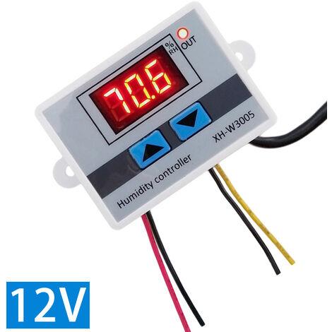 Controlador de humedad humidistato digital XH-W3005, monitor de deteccion de humedad higrometro,12V