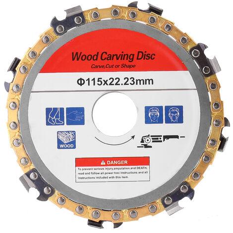 Disco de talla de madera Cadena de carpinteria, Motosierras de amoladora, Herramienta de placa de cadena de disco,115 mm de diametro