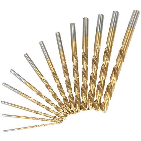 13pcs Juego de brocas para zurdos M2 HSS, con recubrimiento de nitruro de titanio