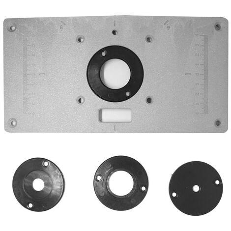 Placa de insercion de aluminio para mesa de fresado, con 4 anillos y tornillos