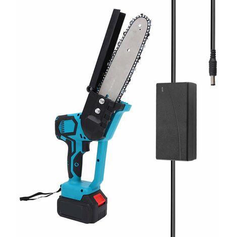 Sierra de poda electrica portatil con placa de guia de 8 pulgadas, pequena motosierra que parte de madera,Azul, enchufe de la UE