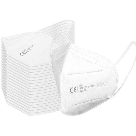 Mascara FFP2, 4 capas 95% de filtracion Mascaras KN95 desechables con certificacion CE, paquete individual,Blanco, 20 piezas
