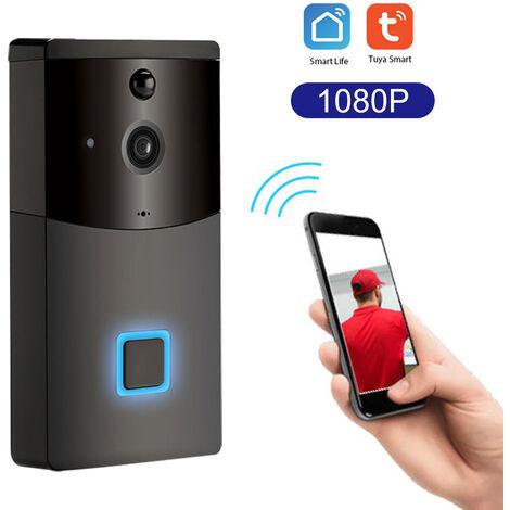 Timbre de seguridad inteligente WiFi, Videoportero con grabacion de intercomunicador visual, Detector de movimiento PIR,Negro, version comun