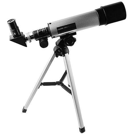 Telescopio astronomico refractivo de alta definicion, tripode 50 mm, apertura 360 mm, longitud focal 90 aumentos max.