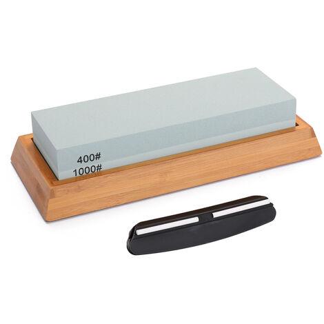 Juego de piedra de afilar bicolor de doble cara, piedra afiladora para cortadores domesticos, con base de bambu antideslizante