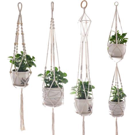 Juego de 4 colgadores para plantas, soporte para macetero de pared para interiores y exteriores