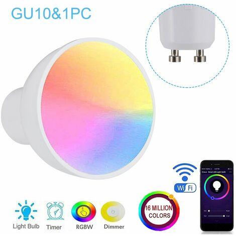 Bombilla inteligente de GU10 / E27 / GU5.3 WiFi, taza de lampara regulable de RGBW 6W LED,GU10 y 1 PC