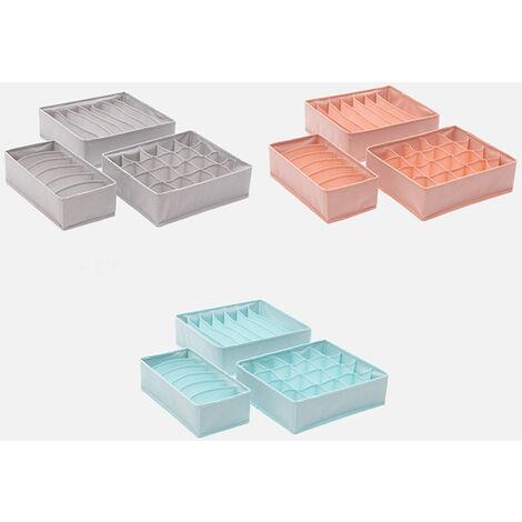 Caja de almacenamiento de ropa interior, caja de almacenamiento de cajones domesticos,gris