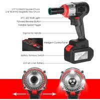 Llave de impacto inalambrica, motor sin escobillas de torque de 980 Nm,Negro, juego de baterias EU Plug 1