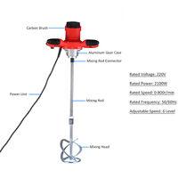 Mezclador de cemento electrico de mano KKmoon 220 V 2100 W, mezclador agitador, 50/60 Hz, 6 velocidades