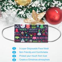 Mascara de Navidad 50PCS, mascarilla desechable para la boca, mascaras no tejidas,Blanco