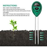 Probador digital de pH 3 en 1, detector de medidor de humedad del suelo a la luz del sol