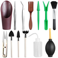 Mini herramientas de mano de jardin de 13 piezas, juego de herramientas de plantacion en miniatura suculentas de Bonsai,marron