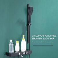 Barra deslizante de ducha, barra deslizante de ducha ajustable, con soporte de ducha de mano,Negro