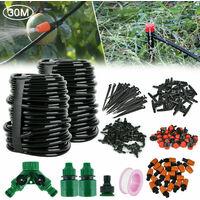 Kit de sistema de riego por goteo automatico de 100 pies y 30 m, micro aspersor con temporizador, riego de jardines
