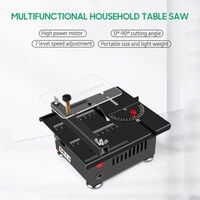 Sierra de mesa multifuncional KKmoon de 100 W, mini sierra electrica de escritorio, profundidad de corte de 16 mm,Negro, enchufe de la UE