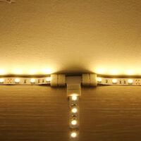 Divisor rapido de conector de tira LED RGB de 4 pines en forma de T, paquete de 10, blanco