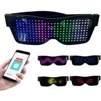 Gafas LED Personalizables BT Gafas LED Gafas de luz de colores Brillantes Mensajes de bricolaje 31 Animaciones 11 Imagenes Modo de musica Juguetes que brillan para la fiesta de Halloween Festival de musica rave