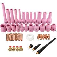 Accesorios de antorcha de soldadura TIG de 46 Uds., Kit de herramientas de soldadura para boquillas de gases ceramicos, boquillas de gas para WP-9/20/25