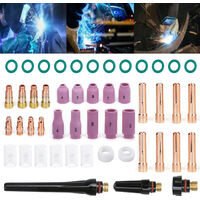 Kit de accesorios de soldadura Tig de 49 piezas, juego de boquillas de alumina de copa de vidrio resistente al calor con lentes de gases rechonchos para WP-17/18/26