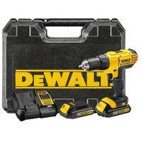DeWalt - Taladro atornillador con batería 18 V XR 2x1,3 Ah Li-Ion 13 mm 42 Nm con maletín