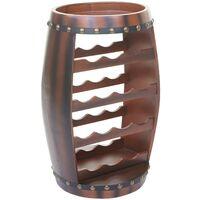 Portabottiglie a forma di botte HWC-T879 legno di eucalipto 34x37x66cm per 14 bottiglie