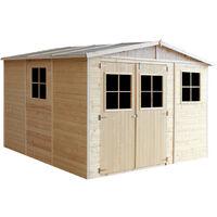 Cobertizo de madera para jardín - 324x316cm/9m2 Cobertizo de madera natural - Taller de Jardín - Bicicleta, Almacenamiento de herramientas TIMBELA M335