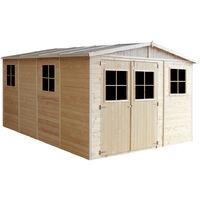 Cobertizo de madera para jardín - 324x416cm/12m2 Cobertizo de madera natural - Taller de Jardín - Bicicleta, Almacenamiento de herramientas TIMBELA M336