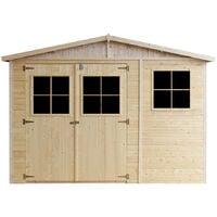Cobertizo de madera para jardín - 324x516cm/15m2 Cobertizo de madera natural - Taller de Jardín - Bicicleta, Almacenamiento de herramientas TIMBELA M337