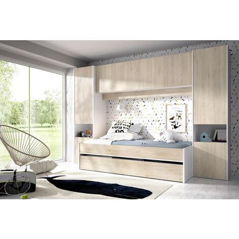Cama nido con armario y altillo modelo KWAI 03K1324386