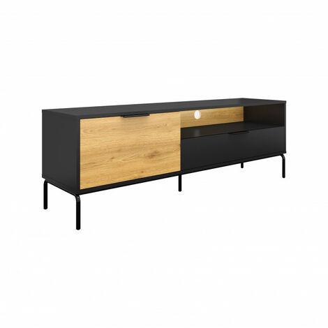 SHIITO- Mueble de tv Negro-Roble patas metal negro KOLNTU01