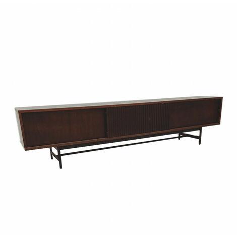 SHIITO- Mueble para TV con puertas correderas modelo KIRAN 210x50cm en color nogal