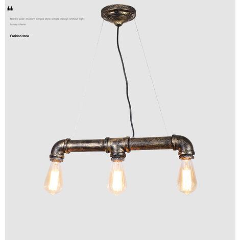 Lámpara colgante retro vintage pipe 3 cabezales Industrial