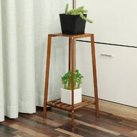 Soporte para macetero de madera marrón de 2 niveles